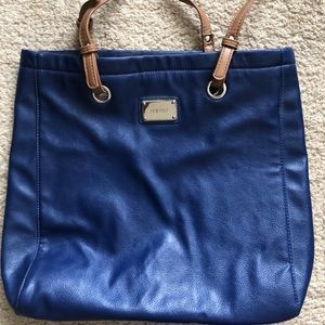Nine West blue & tan travel size shoulder bag